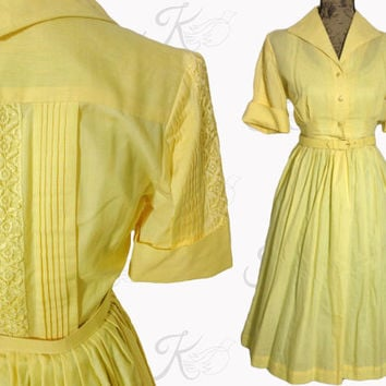50s Dress, 1950s Dress, 50s Yellow Dress, Shirt Dress, Full Skirt Dress, Pleated Dress, Small Dress, 50s Small Dress, Yellow Dress, Sundress