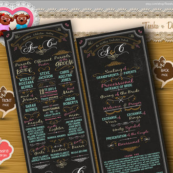 Custom Wedding Ceremony Program - classic vintage coral gold mint chalkboard wedding color theme card clipart - DIY printable file  (w0102)