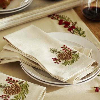 Embroidered Pinecone & Berry Napkins, Set of 4