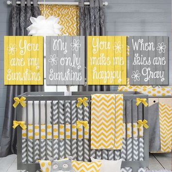 Yellow Gray Nursery, You Are My SUNSHINE Wall Art, CANVAS or Prints Baby Girl NURSERY Decor, Nursery Rhyme, Girl Bedroom Decor, Set of 4