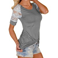 Women Lace T Shirt Sexy O Neck Short Sleeve Crochet Casual Slim Shirts Plus Size