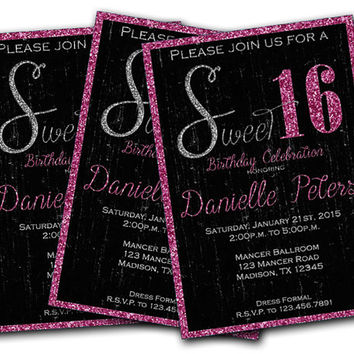 Glitter Pink Sweet 16 Birthday Invitations - Sweet 16 Invitation - Girls Sweet 16 - Black - Silver - Bling - Grunge - Trendy - Modern - Fun