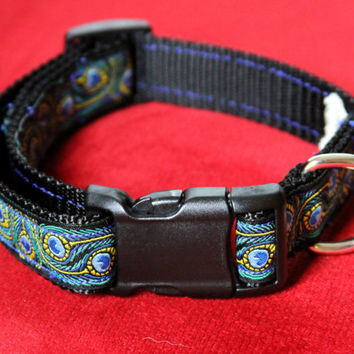 "Adjustable dog collar 12"" to 18"" neck size peacock feathers design Jacquard Ribbon"