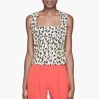 Mugler White Leopard Print Applique Tank Top