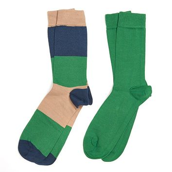 Men's Cleadon Socks Gift Pack in Brown Stripe and Green by Barbour
