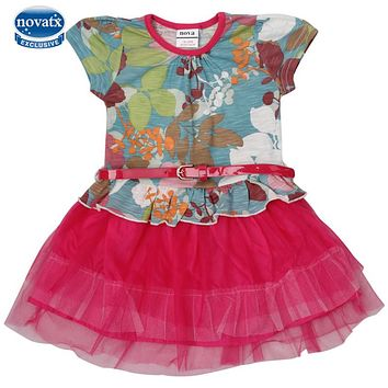NOVA kids clothing short sleeve summer dresses dora printed dresses girls children's frocks dora kids dresses baby girl clothes