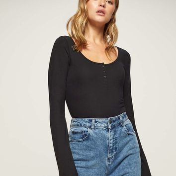 Black Long Sleeve Grandad Body | Missselfridge