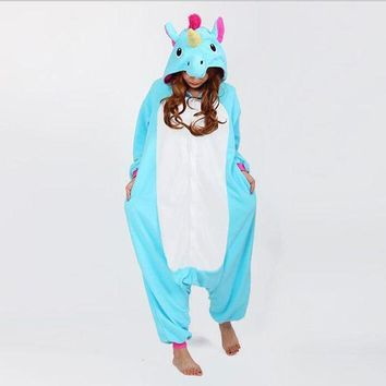 ESBONFI 2017 Halloween Autumn and Winter Pajama Sets Cartoon Sleepwear Women Pajama Flannel Animal Stitch Panda Unicorn Tigger Pajama