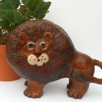 Paper Mache Clay Lion Sculpture - Leonard the Lion