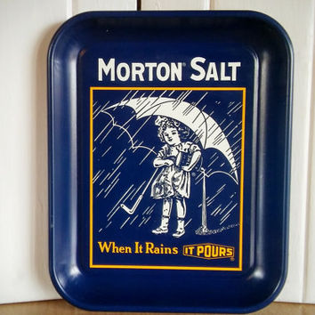 Morton Salt Metal Serving Tray, Vintage Umbrella Salt Girl Tin TV Tray Décor Tin