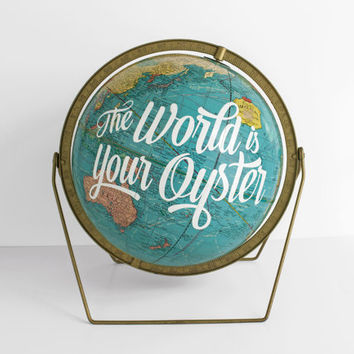 World Globe 12 inch The World is your Oyster Blue Gold Metal stand Vintage Travel Inspirational WildandFreeDesigns