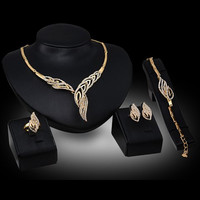 Chic Hollow Out Leaf Rhinestone Necklace Bracelet Ring and A Pair of Earrings For Women