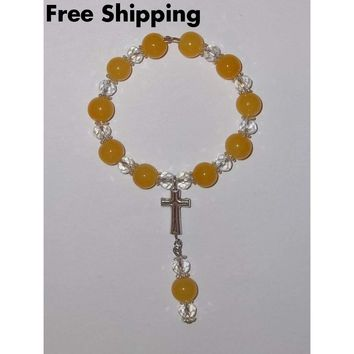 Yellow Jade & Clear Swarovski Crystal Beaded Hand Crafted Car / Pocket Rosary