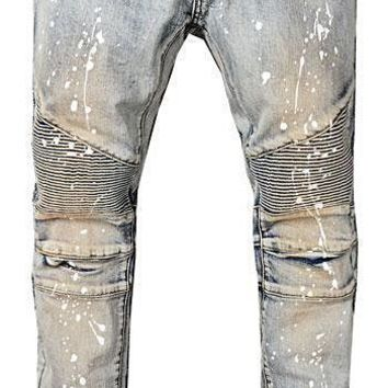 Paint Splatter Front Zipper Pockets Dirty Stonewashed Vintage Moto Slim Fit Jean