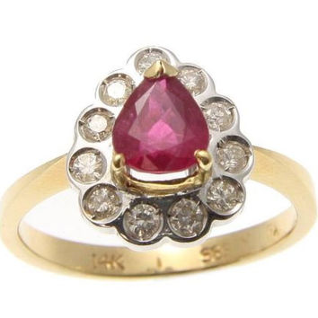 GENUINE 0.95CT PEAR SHAPE RUBY & DIAMOND SOLITAIRE RING SOLID 14K YELLOW GOLD