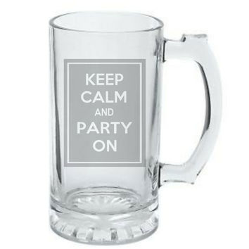 Keep Calm and Party On, Birthday Gift, Fraternity Gift, College Gift, DEEP Etched Glass Beer Mug, Christmas Gift