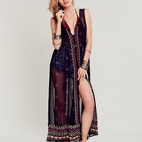Free People Womens Sleeveless Printed Embellished Maxi - Black