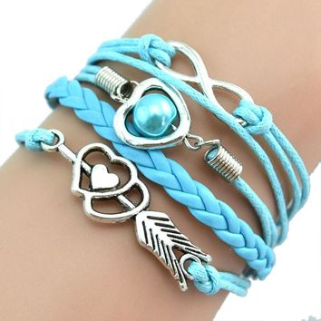 Love hearts pearl infinity Multilayer Charm Leather Bracelets Gift BU