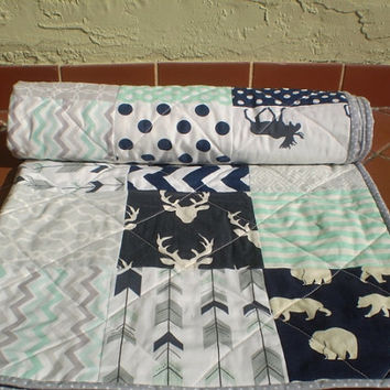 Baby deer quilt-baby girl quilt,baby boy bedding,woodland,rustic,mint green,grey,navy,deer,stag,bear,moose,arrows,chevron-And Bullwinkle