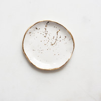Ring Dish in White with Gold Splatters – Suite One Studio