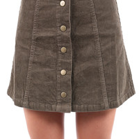 All Buttoned Up Skirt - Taupe