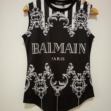 balmain fashion letter multicolor stripe print sleeveless vest women buttons decoration casual t shirt tops