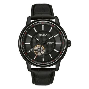 Bulova Men's Automatic Movement Watch in Black Ion-Plated Stainless Steel with Black Leather Strap