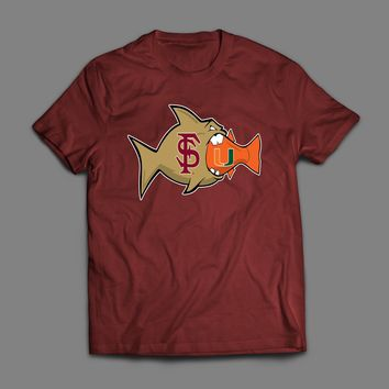BIG FISH FSU EATING LITTLE FISH MIAMI COLLEGE FOOTBALL RIVALRY T-SHIRT