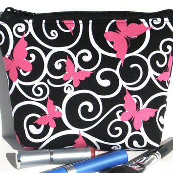 Padded Flat bottomed Cosmetic Bag/Zippered Pouch Ribbons of Hope Butterfly