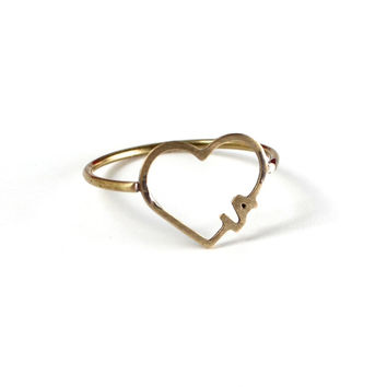 Antique Gold LA Heart Ring