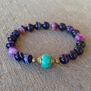Transformation and Communication, purple agate and Tibetan capped turquoise guru bead mala bracelet