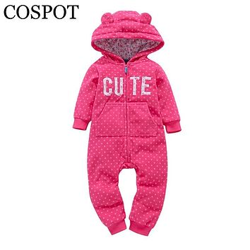 COSPOT Bebes Clothes Newborn One Piece Fleece Hooded Jumpsuit Long Sleeved Red Plaid X'mas Baby Girls Boys Christmas Romper 40F