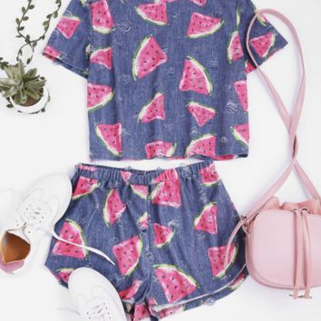 Watermelon Print Frayed Matching Pajama Set