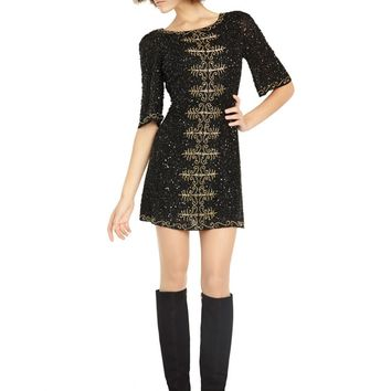 alice + olivia | MARKIZ EMBELLISHED BELL SLEEVE DRESS
