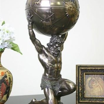 Atlas Holding World Greek Statue, Bronze Finish 12.5H