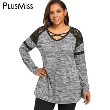 PlusMiss Plus Size 5XL Sexy Lace Cold Shoulder T-shirt Women Clothing Big Size Long Sleeve Loose Top 2018 Casual T Shirt Gray