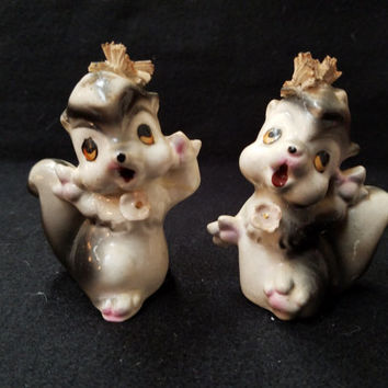 Skunk Salt and Pepper Shakers, Collectible Shakers, Made in Japan   (1123)