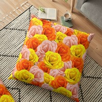 'Roses Pastel Colors Floral Collage' Floor Pillow by BluedarkArt
