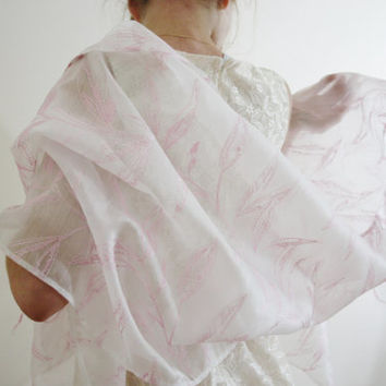 Light White Scarf: Blush Pink Embroidered Leaves Jane Austen Pride And Prejudice spring summer scarf wedding wrap bridal shawl KITTY