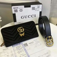 Gucci Fashion Women Shopping Bag Metal Double G Zipper Velet Purse Wallet With Leather Belt Two Piece Set I-AGG-CZDL