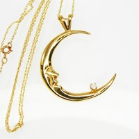 14K Gold Man in the Moon Pendant with Diamond and Dainty Chain Necklace, Crescent Moon and 3 Point Diamond Star, Vintage 1980s 1990s Whimsy