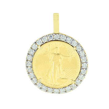 10K Gold Round Cut Diamonds 7.00 Carats 1 Ounce Lady Liberty Coin Pendant