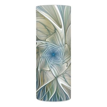 Floral Dream Pattern Abstract Blue Khaki Fractal Flameless Candle