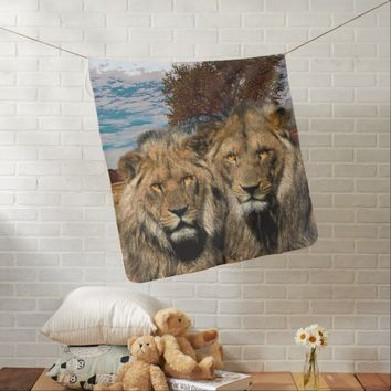 Two Wild Lions On African Savannah Background Swaddle Blanket