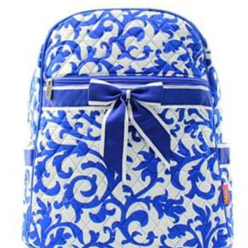 Damask Print Quilted Backpack - 3 Color Choices