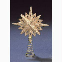 Star Christmas Tree Topper - Ready-to-attach On Gold Spiral Cone