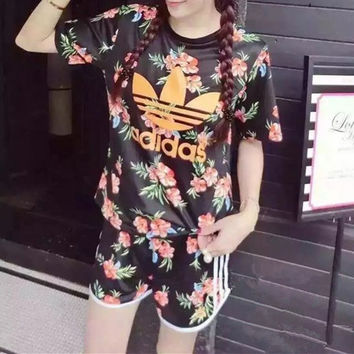 """Adidas"" Women Casual Letter Floral Print Short Sleeve Shorts Set Two-Piece Sportswear"