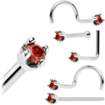 Solid 14KT White Gold (January) 1.5mm Genuine Red Diamond Nose Ring