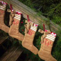 Monogrammed burlap stocking, burlap stocking, christmas stocking, chevron christmas stocking, chevron stocking, monogrammed chevron stocking