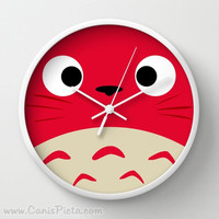 RESERVED for Xochitl - Red Curiously Totoro Wall Clock White Frames Anime Manga Troll Hayao Miyazaki Studio Ghibli Wall Home Gift Decorative